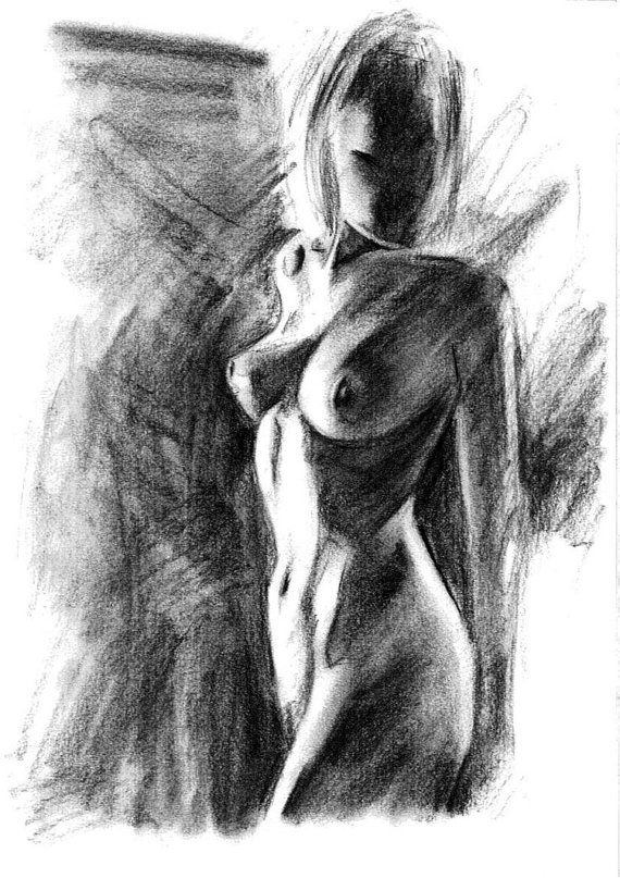 naked smoking woman drawing