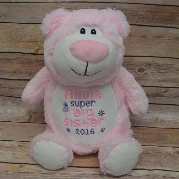 37 best cubbie images on pinterest baby announcements birth personalised pink bear big sister cubbie teddy bear cubby teddy big sister gift baby gift personalised teddy bear negle Images