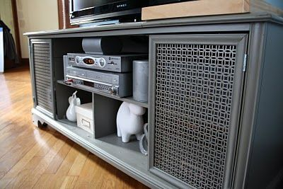 old stereo cabinet makeover from old to new entertainment center.                                                                                                                                                                                 More