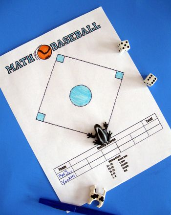 Math Activity: Math Baseball - This two-player game is a fun way to practice multiplication facts! You'll use a pair of dice to determine the numbers you will multiply with. The product determines whether you've hit a single, double, triple, or home run!