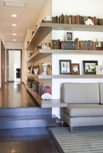 wall shelves for corners, space saving interior design and decorating ideas