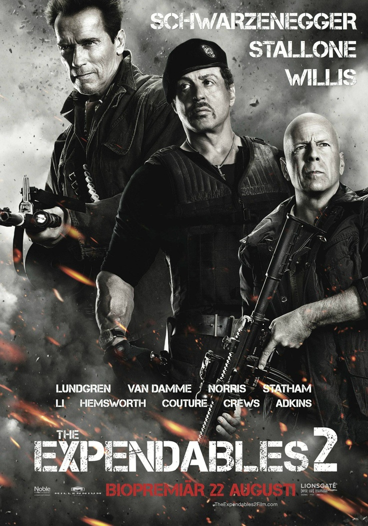 The Expendables 2 (2012) An amazing action movie with the best acion stars.. Sylvester Stallone, Jason Statham, Jean-Claude Van Damme, Bruce Willis, Jet Li, Arnold Schwarzenegger, Chuck Norris, Dolph Lundgren, Terry Crews, Liam Hemsworth. <3