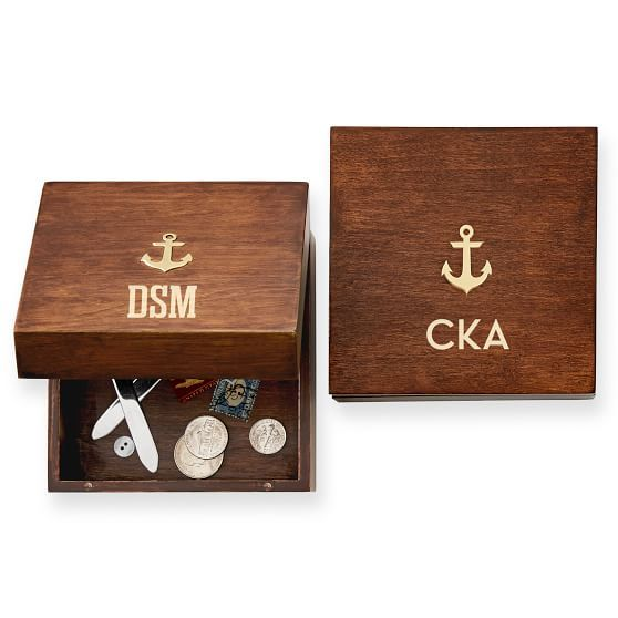 Acacia Box with Brass Anchor | Mark and Graham
