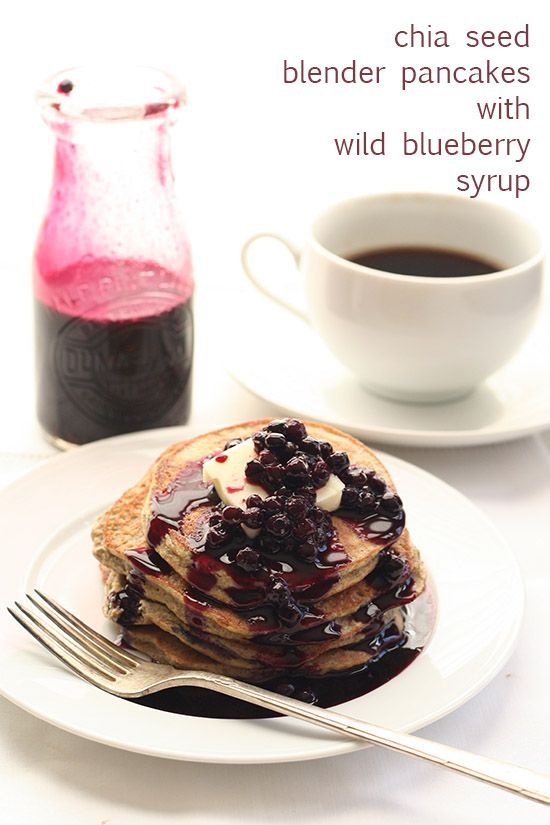 Chia Seed Blender Pancakes with Wild Blueberry Syrup via @dreamaboutfood