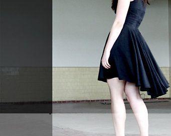 Hi low hem dress - evening black  fitted body with circle skirt, modern minimalist grunge style - small