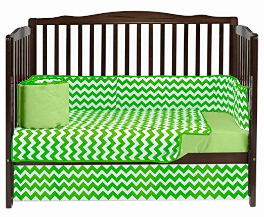Baby Doll Bedding Chevron Crib Bedding, Green