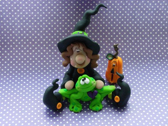 Polymer Clay Wtich and Large Frog Figurine SET by ClayBabiesInc, $27.95