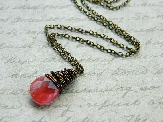 Salmon Necklace  Quartz Briolette Drop Wire Wrapped by gabeadz