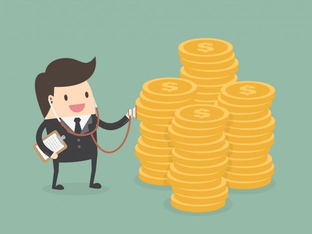 Businessman with a pile of coins Free Vector