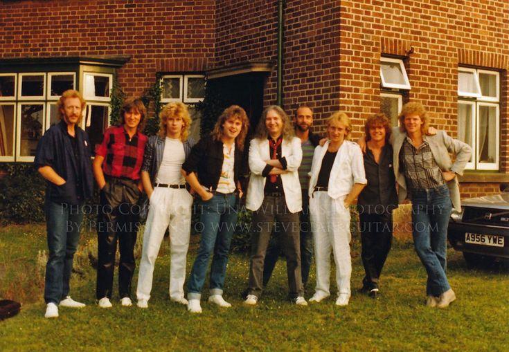 Def Leppard camp Dublin 1984 From Left-Right: Don Kettler, Joe Elliott, Steve Clark, Rick Savage, Jim Steinman, Mike Rogers, Phil Collen, Rick Allen, Mutt Lange