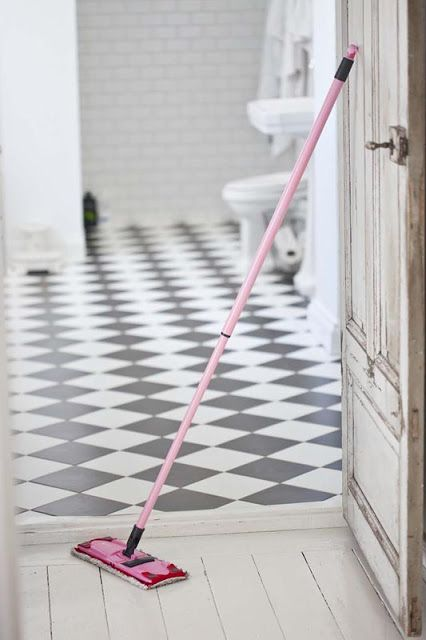 Classic Black And White Tile Floor In Bathroom