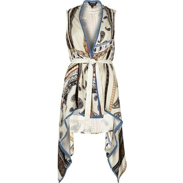 River Island Cream paisley draped sleeveless jacket ($60) ❤ liked on Polyvore featuring outerwear, jackets, accessories, capes / ponchos, cream, women, cape poncho, lightweight jackets, white jacket and poncho cape