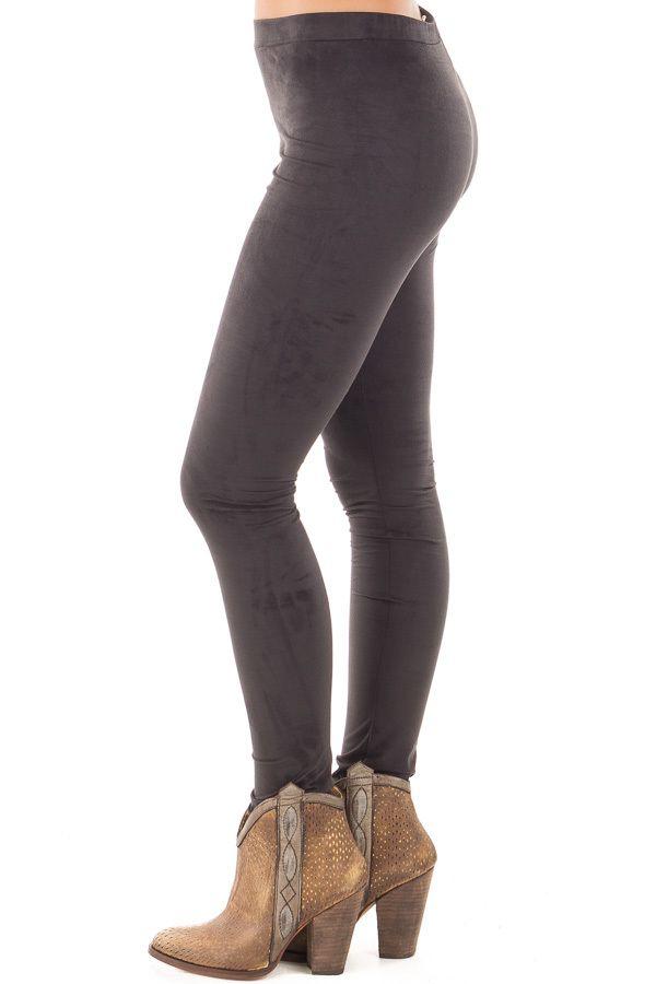 Black Faux Suede Leggings detail side right leg