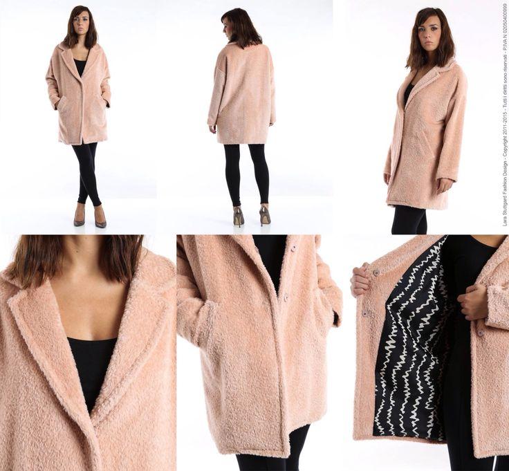 Maxi cappottino in lana alpaca con fodera a contrasto - linea a uovo - Size S\M - pink coat