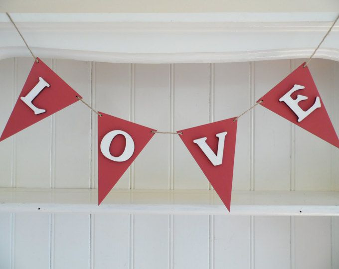 Valentines Gift-'LOVE' Wooden Bunting-'LOVE' Banner-Home Decor-Red and White-Wedding Decor-Shabby Chic Accent-Cottage Chic-Romantic Gift