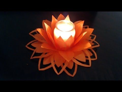 How to make easy Paper flower candle decoration (link for slower version in the description box) - YouTube