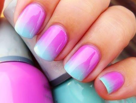 nails: Cotton Candy, Nails Art, Cute Nails, Nails Design, Color, Summer Nails, Gradient Nails, Nails Polish, Blue Nails