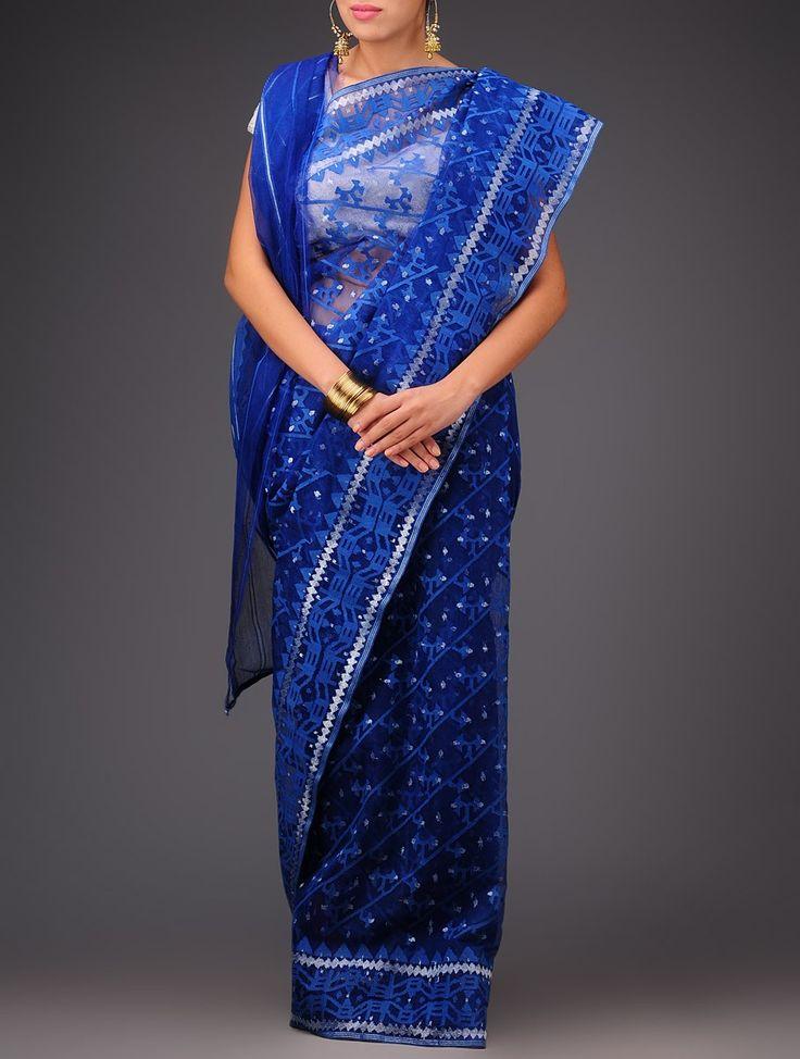 Buy Electric Blue Cotton Jamdani Saree Sarees Woven Wondrous Ethereal Dhakai Online at Jaypore.com