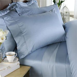 Blue is the perfect color for sleeping and the idea of temp regulating sheets sound heavenly!