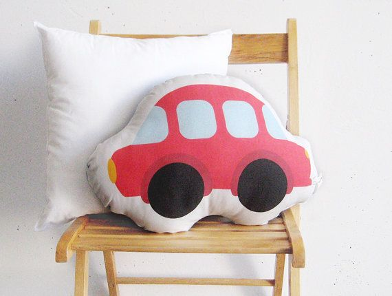 Red car Soft pillow stuffed toy soft toy by PrintsByStellaChili