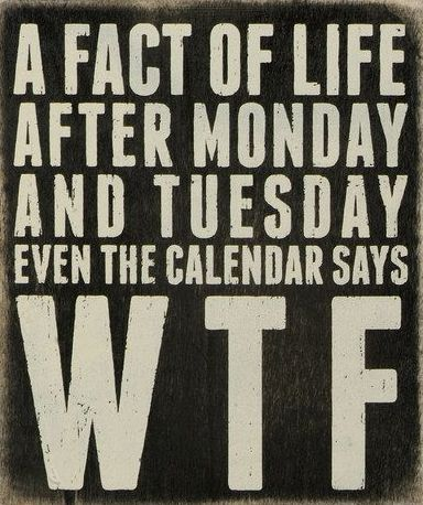 A fact of life - after Monday and Tuesday, even the calendar says WTF | Haha! This wall quote sign is so true.