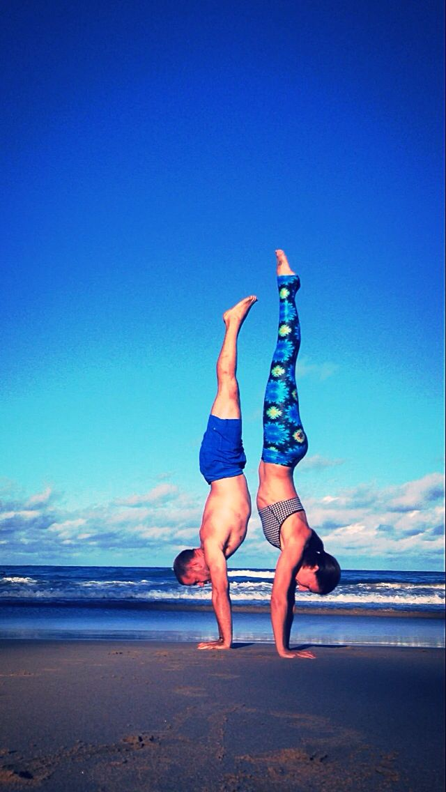 Handstands with friends are both fun and beneficial. Get happy endorphins and get upside down!