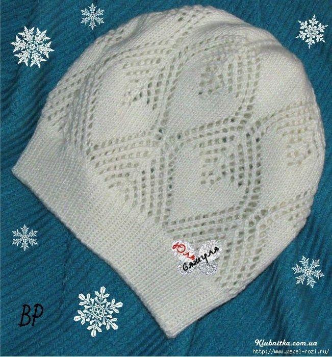 Белая шапочка спицами с узором листья от Юли Вяжули | Вязание Шапок - Модные и Новые Модели