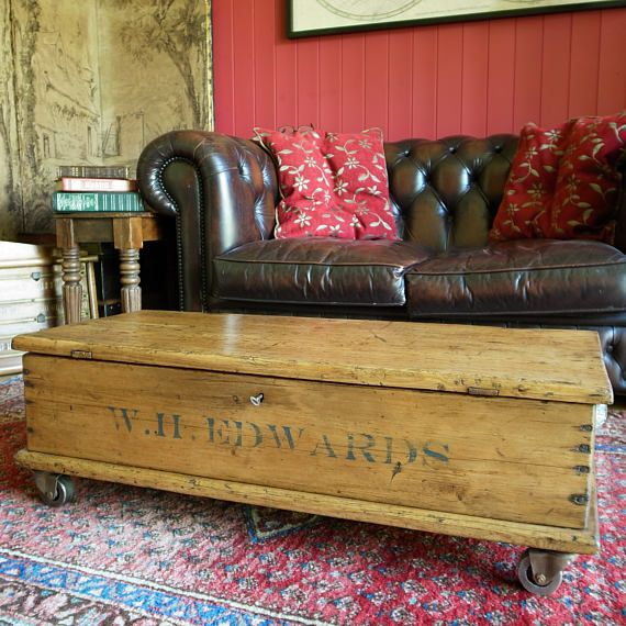 INDUSTRIAL COFFEE TABLE Reclaimed Victorian Tool Chest Vintage