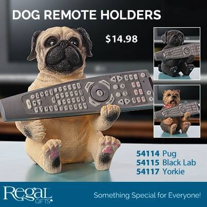 "DOG REMOTE HOLDERS  Have your favourite dog be on patrol! The perfect perch for your remote control. A whimsical and practical accent for your living room. Resin. 7-1/2""H x 6""L x 5-1/2""W"