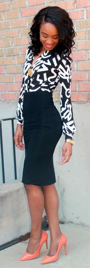 """Pencil skirt + Printedblouse"" by My Versicolor Closet"