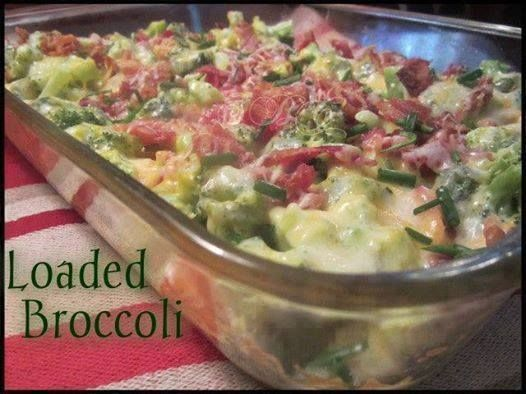 Loaded Broccoli ✿  Ingredients:… 4-5 small bunches of cut up fresh broccoli   Apx  4-6 cups 1/2 cp Mayo 1/2 cp Sour Cream 6-8 Slices bacon cooked and diced   2 cps  Shredded Cheddar  Cheese . 3-4 Tbs chopped fresh chives Directions: Steam or Boil Broccoli Pieces   Drain and  cool Mix  Mayo, Sour Cream, 1 cp of the Shredded Cheese and 1/2 the cut up Bacon, and placed in baking dish , lightly sprayed , non stick spray, Top   w/remaining Ingredients   . Cook - 400° for 10- 15 minutes until…