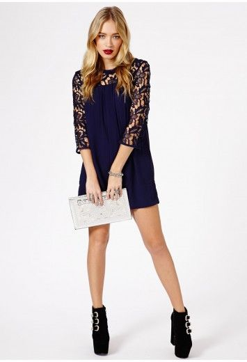 Margery Lace Sleeve Chiffon Swing Dress - Dresses - Swing Dresses - Missguided