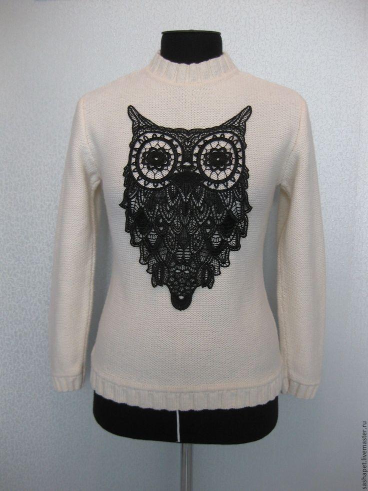 Купить Свитер с совой Белый Свитер на весну Джемпер ручной работы Сова - дизайнерская одежда