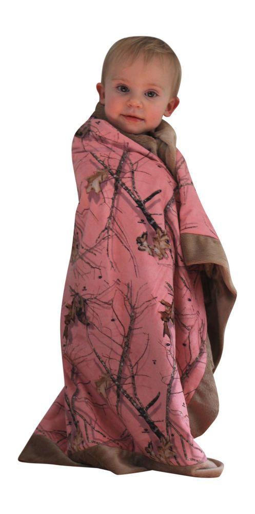 Pink Camo Blanket Mossy Oak Baby Toddler Infant Receiving Security Crib Blanket #MossyOak