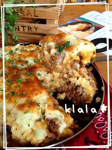 グリルパンレシピより❤ じゃがいもと、ミートソースとチーズの重ね焼きだね。 - 667件のもぐもぐ - グリルパンでシェパーズパイ☆ by klala