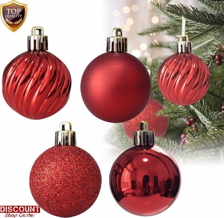 24Pack Red Christmas Ornaments Balls Tree Decorations Hanging Xmas Holiday Set #KIStore