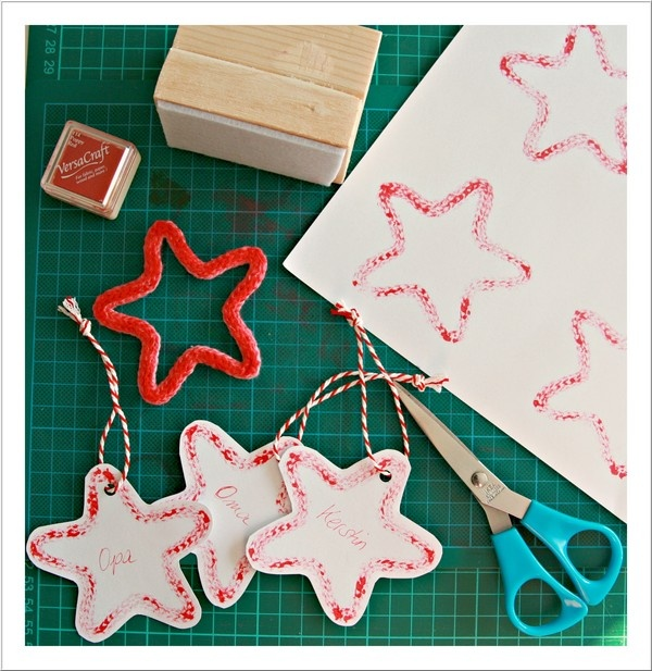 Gift Tags: printing with a spool knitted star