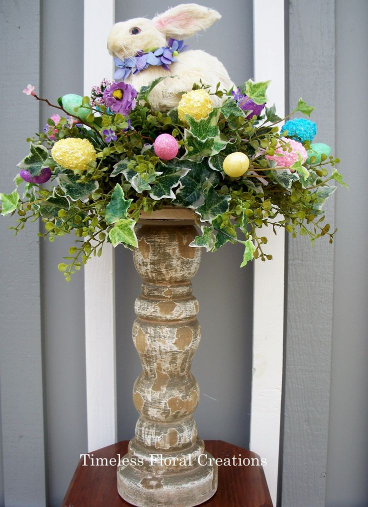 Easter bunny arrangement-Easter decorations http://www.timelessfloralcreations.com/