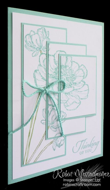 Triple Layer Stamped thinking of you card by Robin Messenheimer
