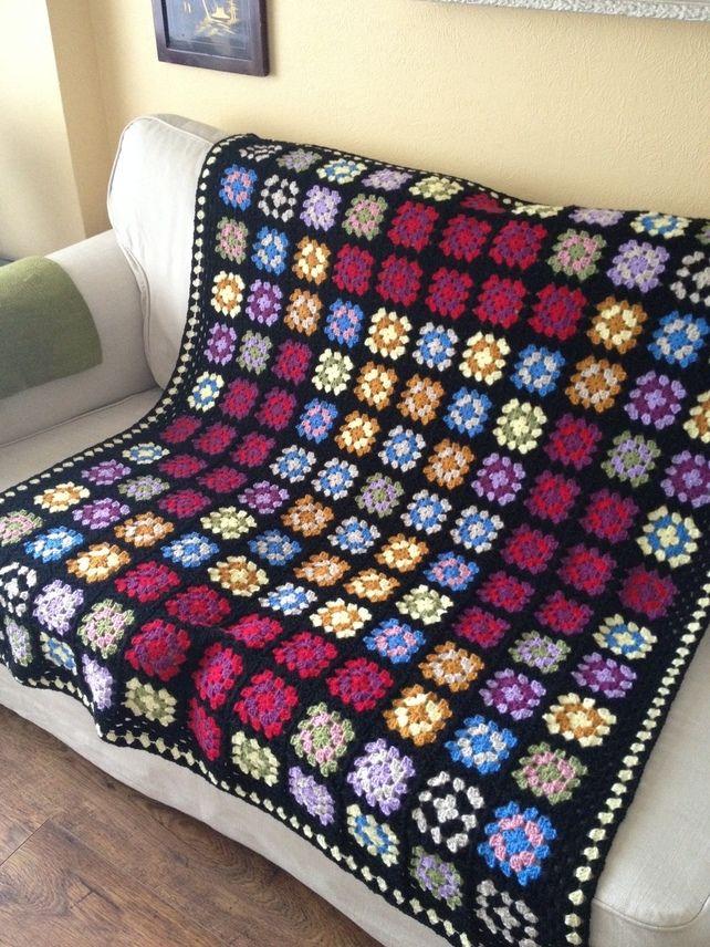 Crochet Big Bang Theory style granny square blanket afghan