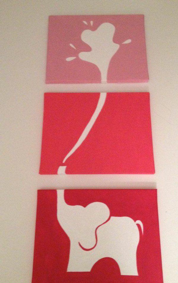 diy moderne Leinwandbilder elefanten rot rosa nuancen