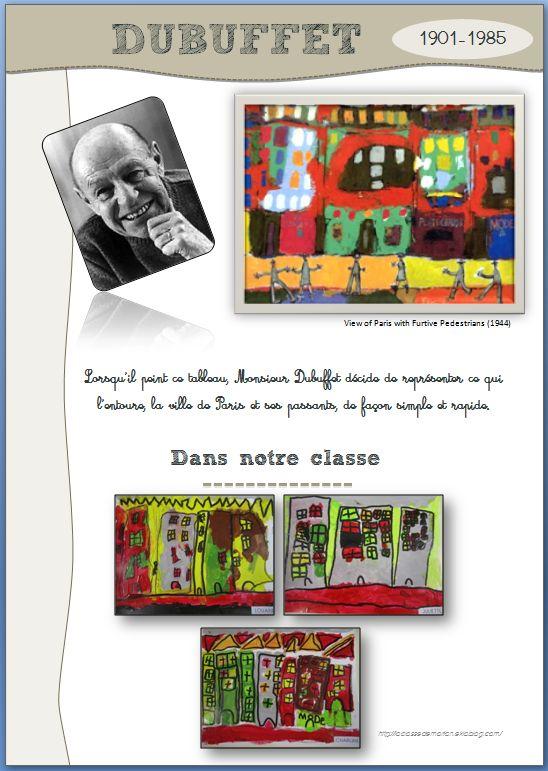 """Exemple fiche portrait Dubuffet pour le cahier d'art (rapide présentation puis partie """"dans notre classe"""")"""