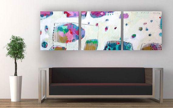 Large original 3 panel painting on wood  Abstract by MirnaSisul, $670.00