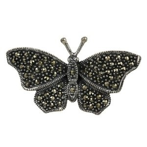 India Jewellery A Brooch and Pin Sterling Silver Butterfly Marcasite Length 1.90 cm: ShalinCraft: Amazon.co.uk: Jewellery