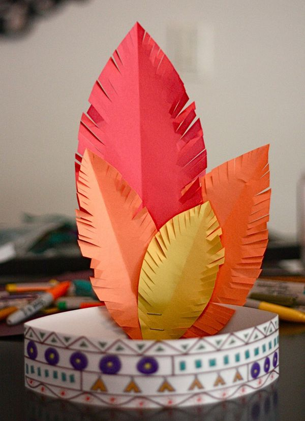 The kids will love making and wearing this Indian headband! See more Thanksgiving kids crafts on www.prettymyparty.com.