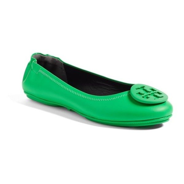 Women's Tory Burch 'Minnie' Travel Ballet Flat ($225) ❤ liked on Polyvore featuring shoes, flats, neon green, ballet shoes, ballerina pumps, tory burch shoes, leather shoes and ballet pumps