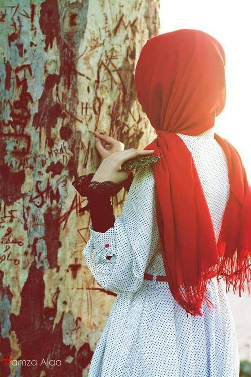 Red hijab, girl, tree