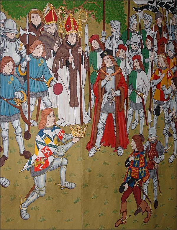 THIS BEAUTIFUL TAPESTRY DEPICTS THE SCENE ON THE FIELD OF THE BATTLE OF BOSWORTH IN 1485 - WITH THE KNEELING SIR THOMAS STANLEY II WHO WAS KING OF MANN PRESENTING HIS STEPSON HENRY TUDOR WITH THE CROWN OF ENGLAND THAT HE HAD RETRIEVED FROM THE DEAD RICHARD III - FOR HIS SUPPORT AND LOYALTY HE WAS CREATED EARL OF DERBY BY THE NEW KING HENRY VII
