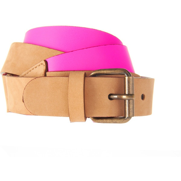See By Chloe Fluro Pink And Brown Belt found on Polyvore
