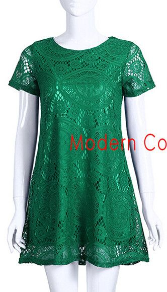 Summer Style European New Arrivals 2016 Women Dresses Fashion Casual Lace A Line Plus Size Dress White Black Green Red Clothing